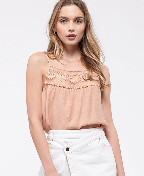 Dusty Peach Lace Top Cami (EM5988)