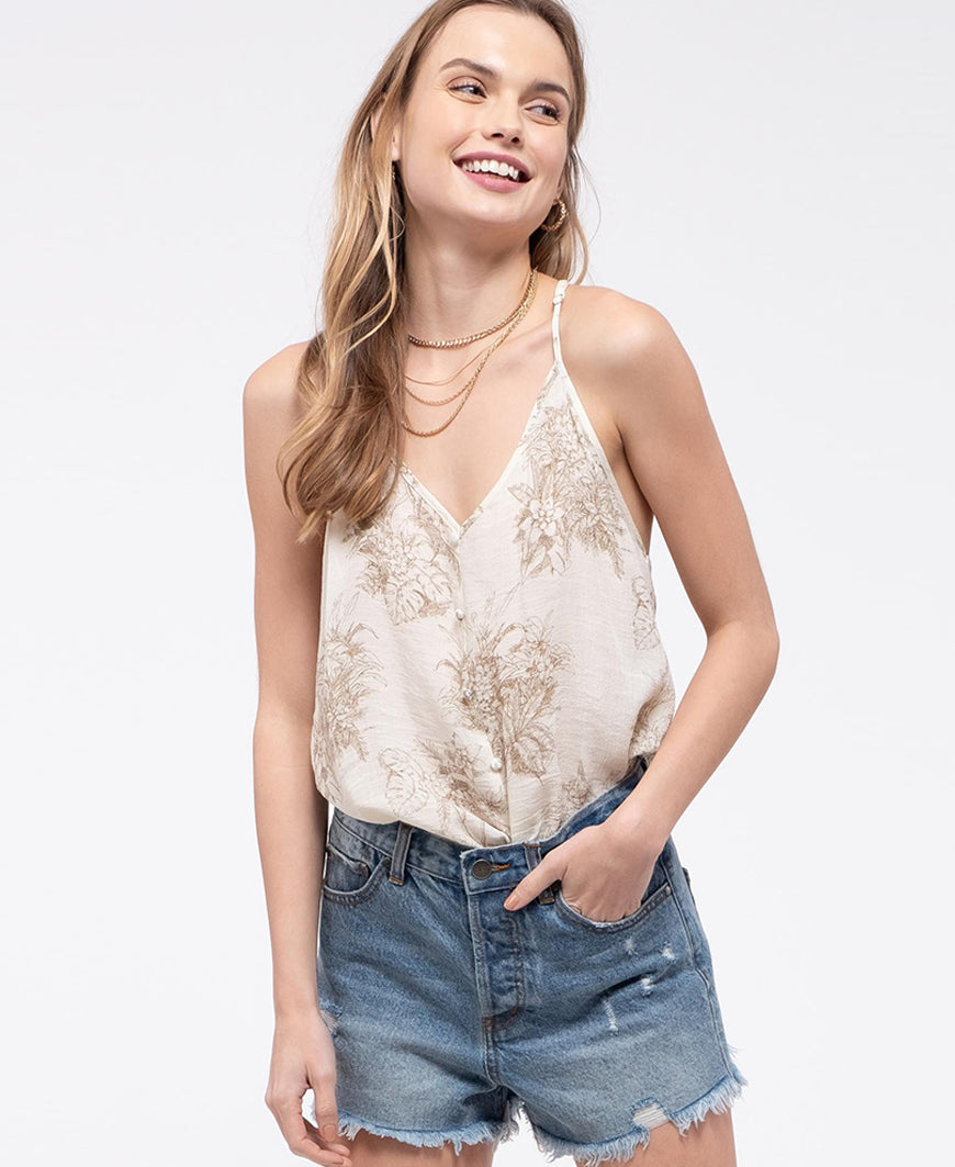 Lace Back Tan Cami Top (EM5929)