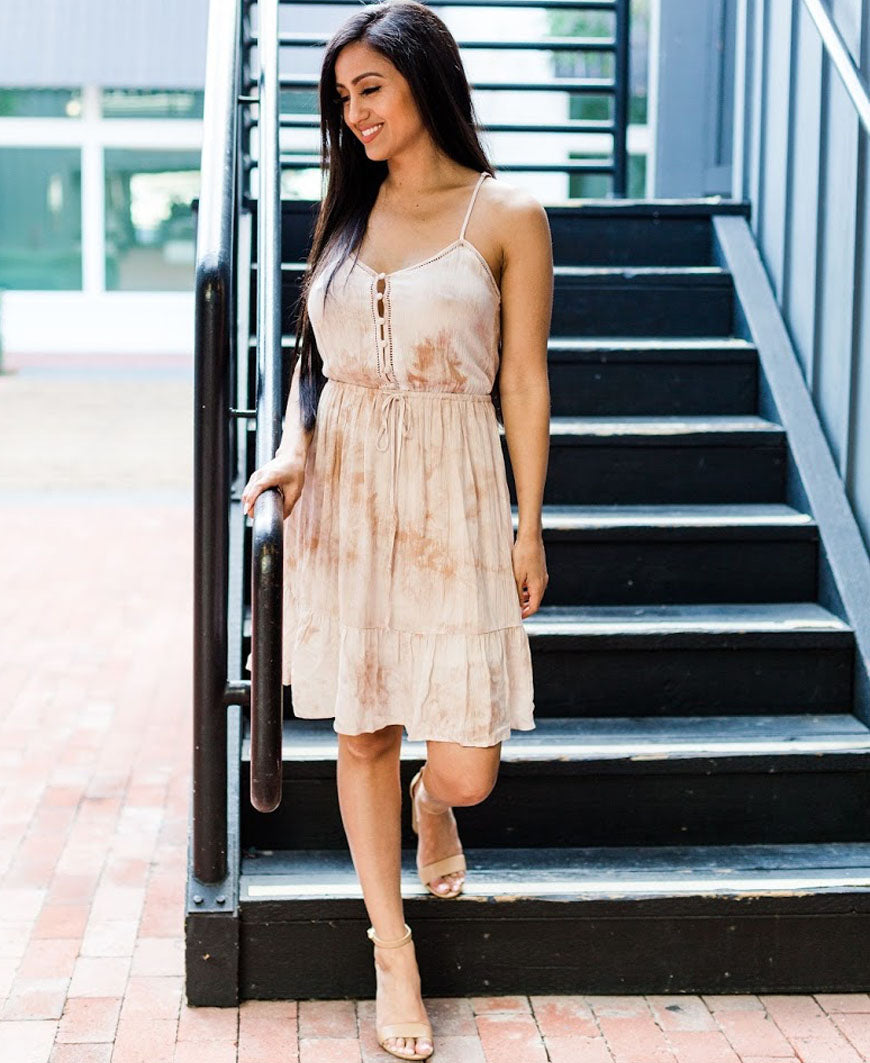 Hazelnut Tie Dye Tie Waist Dress