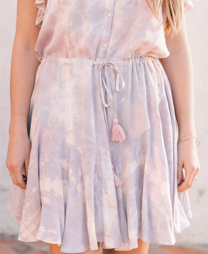 Tie Dye Ruffle Sleeve Dress