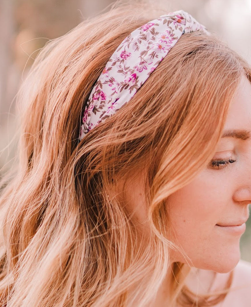 White and Purple Floral Headband