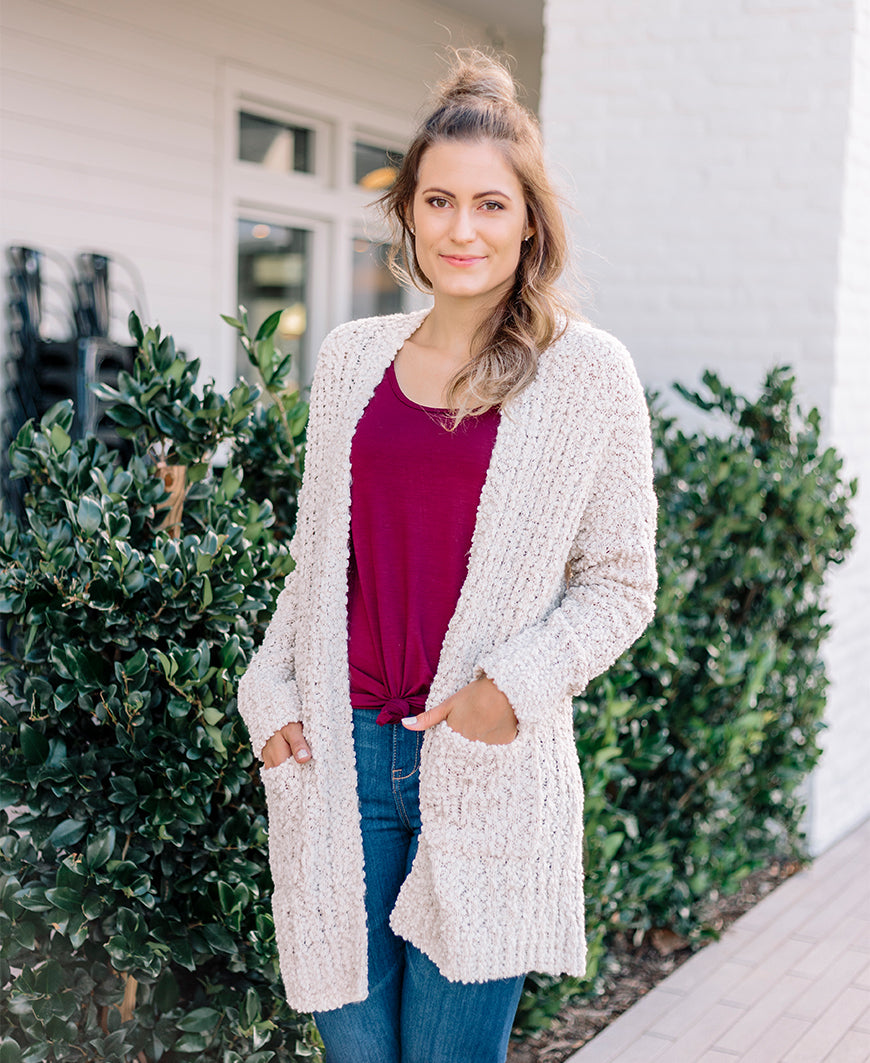 Ivory Soft Open Pocket Cardigan