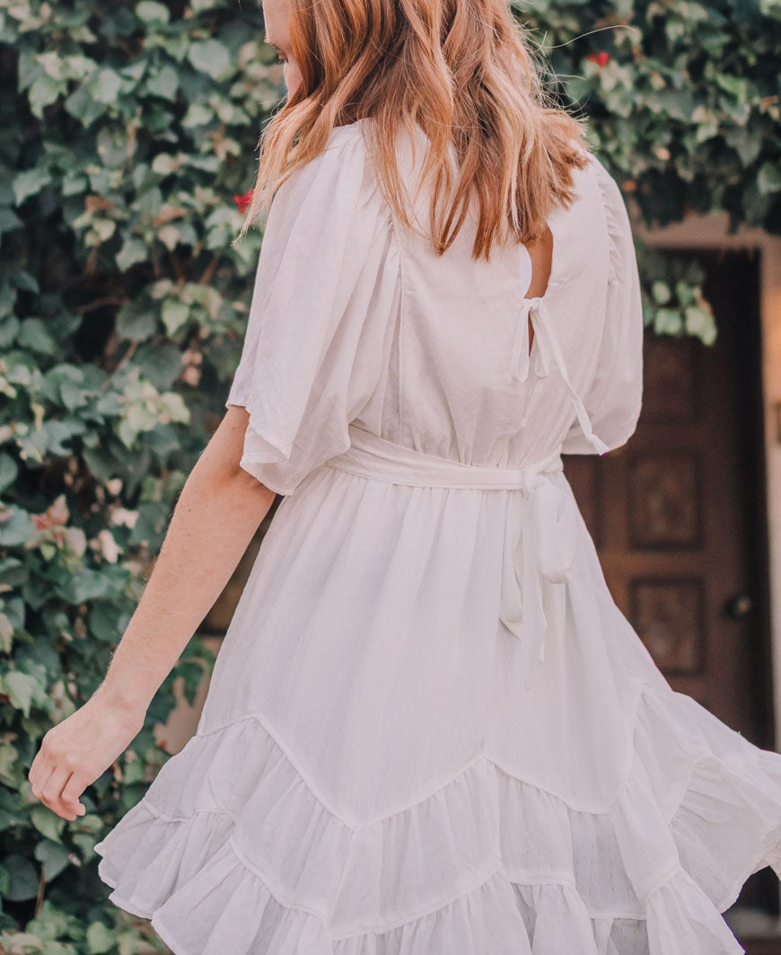 White Ruffle Bottom Dress