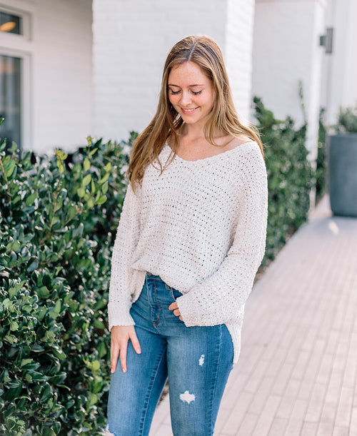 Long Sleeve V Neck Loose Knit Sweater