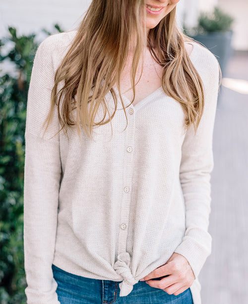 Taupe Long Sleeve Tie Front Button Down Top