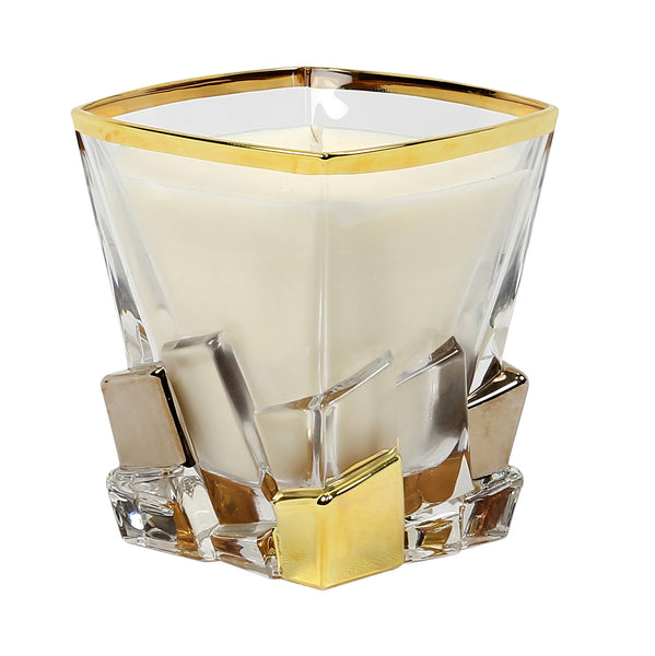 CRYSTAL CANDLES: Unscented soy candle in crystal cup GOLD and PLATINUM hand decorated. [#CN3351-SAM]