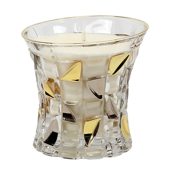CRYSTAL CANDLES: Unscented soy candle in crystal cup GOLD and PLATINUM hand decorated. [#CN3393-SAM]