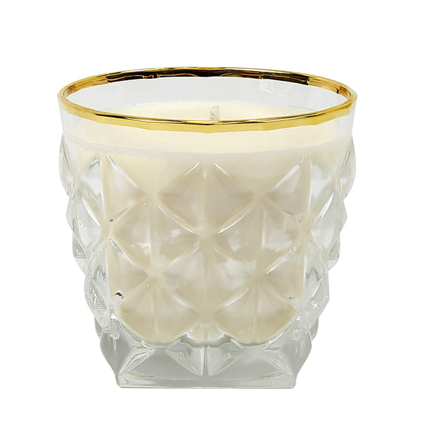 CRYSTAL CANDLES: Unscented soy candle in crystal cup GOLD hand decorated rim [#CN3882/1-SAM]