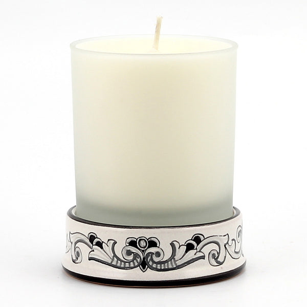 Frosted Glass & Deruta Ceramic Base Candle - Deruta Nero Design [#CN05-FDN]
