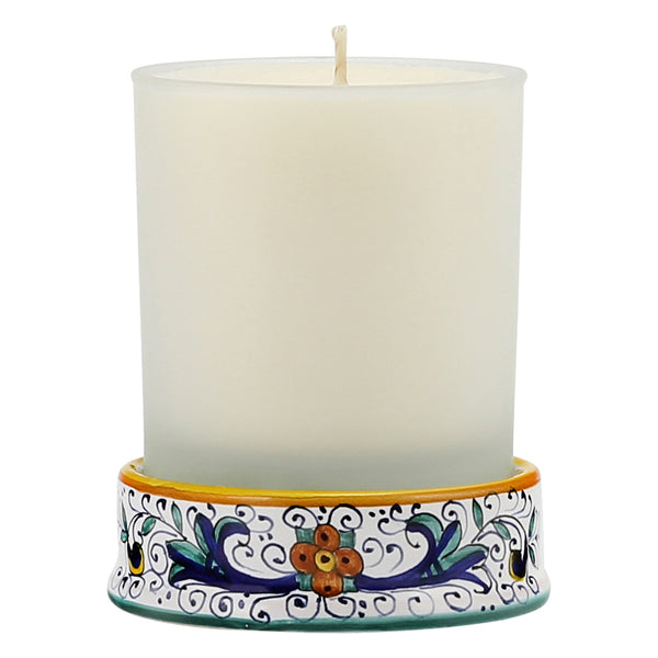 Frosted Glass & Deruta Ceramic Base Candle - Ricco Deruta Design [#CN05-RIC]