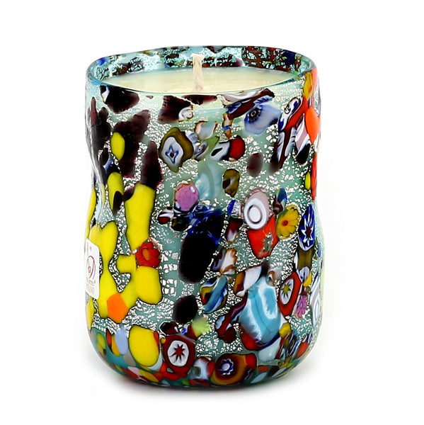 MURANO CANDLE: Authentic Murano Glass Tumbler in BLUE Murrina Style (12 Oz.) [#CN50/A-MUR]