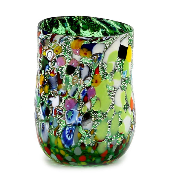 MURANO CANDLE: Authentic Murano Glass Tumbler in GREEN Murrina Style (12 Oz.) [#CN50/B-MUR]