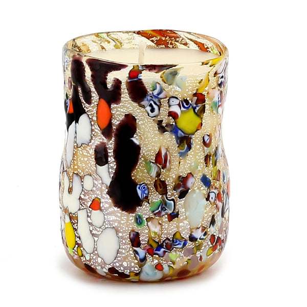 MURANO CANDLE: Authentic Murano Glass Tumbler in GOLD Murrina Style (12 Oz.) [#CN50/C-MUR]