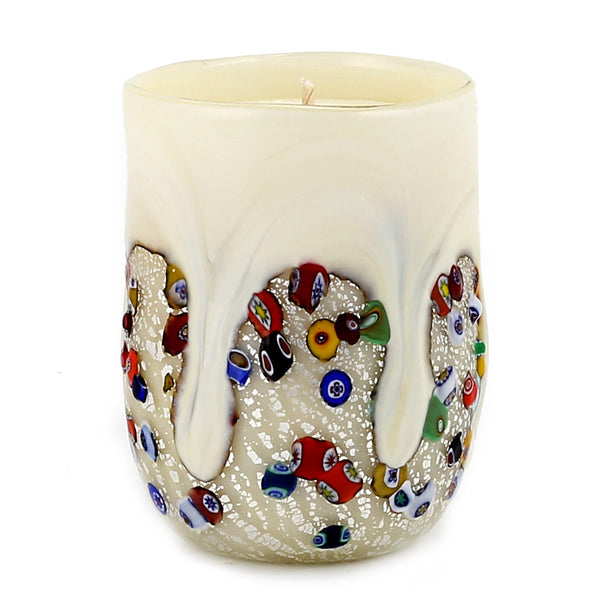 MURANO CANDLE: Authentic Murano Glass Tumbler in WHITE Murrina Style (15 Oz.) [#CN51/B-MUR]