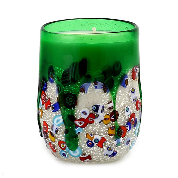 MURANO CANDLE: Authentic Murano Glass Tumbler in GREEN Murrina Style (15 Oz.) [#CN51/C-MUR]