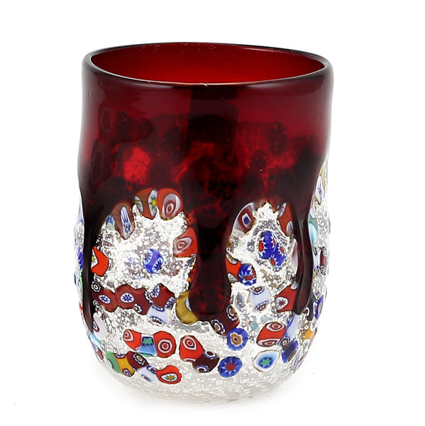 MURANO CANDLE: Authentic Murano Glass Tumbler in RED Murrina Style (15 Oz.) [#CN51/D-MUR]