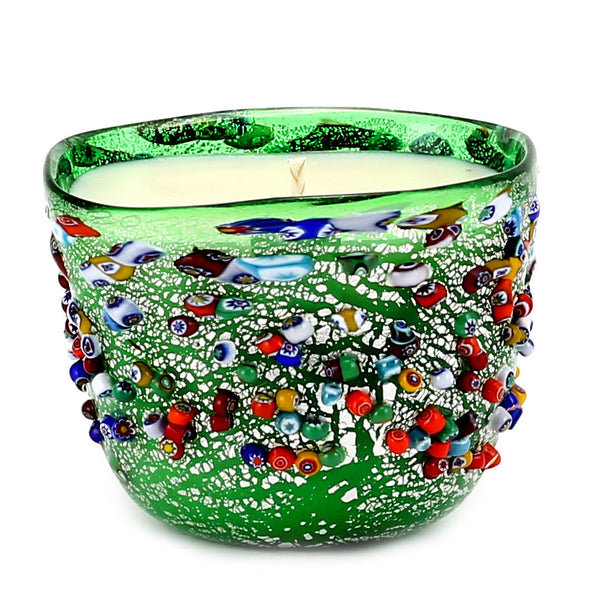 MURANO CANDLE: Authentic Murano Glass in GREEN Murrina Style - Square (14 Oz) [#CN52/A-MUR]