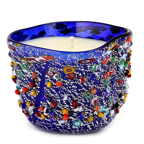 MURANO CANDLE: Authentic Murano Glass in BLUE Murrina Style - Square (14 Oz) [#CN52/B-MUR]