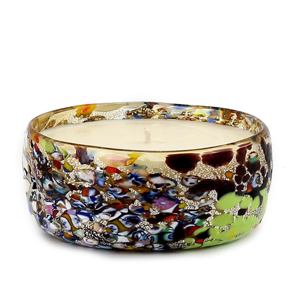 MURANO CANDLE: Authentic Murano Glass Candle in Murrina Style - Round (10 Oz) [#CN53/C-MUR]