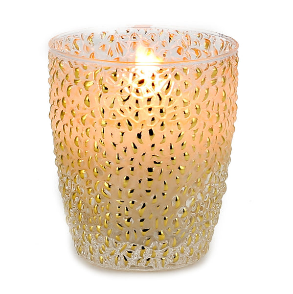 CRYSTAL CANDLE: Oro bump glass - (9 Oz) [#CN6957-IVV]