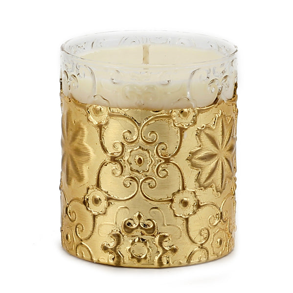 CRYSTAL CANDLE: Arabesque Design with Gold Leaf finish - (10 Oz) [#CN7482/4-IVV]
