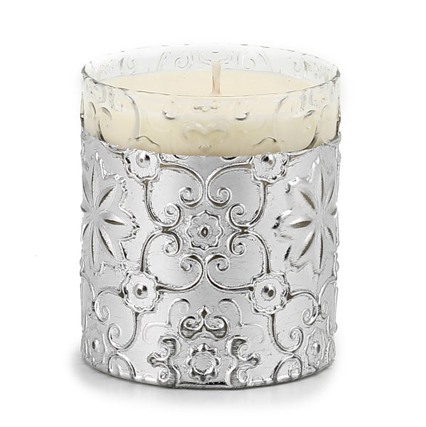 CRYSTAL CANDLE: Arabesque Design with Silver Leaf finish - (10 Oz) [#CN7482/6-IVV]