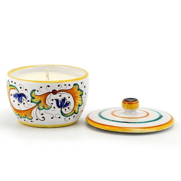 Jar Deruta Ceramic Candle with lid - Perugino Deruta Design [#CN9517-PER]