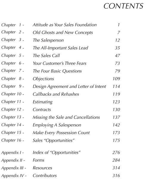 Profitable Sales Book Table of Contents