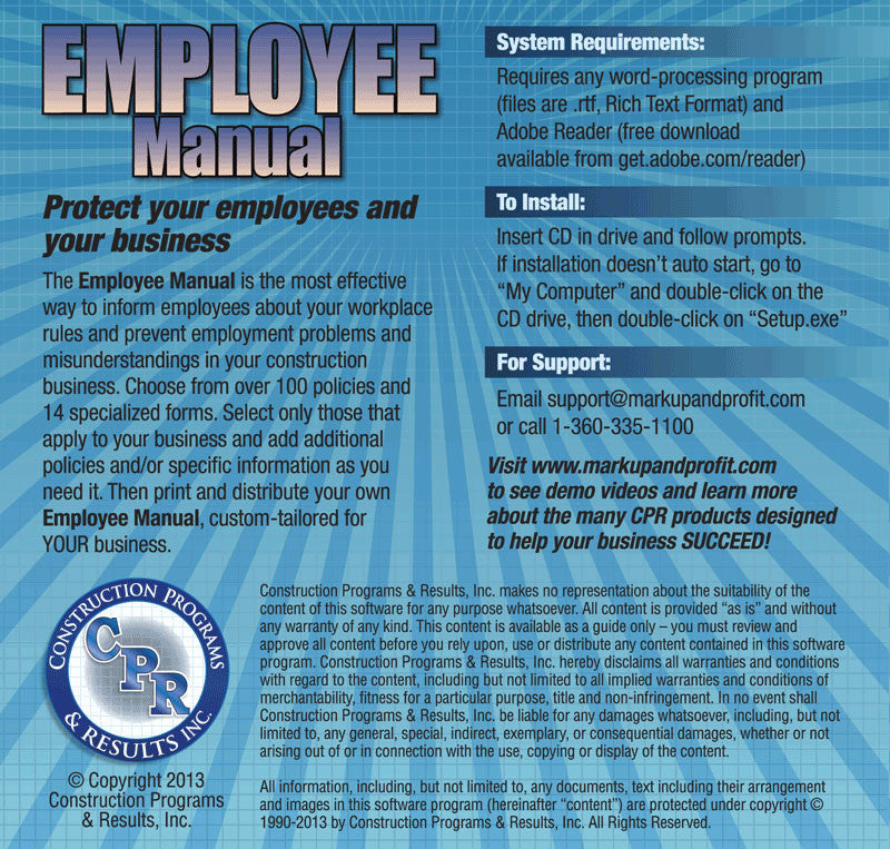 Employee Manual For Construction #EmployeeManual; Construction Employee  Manual