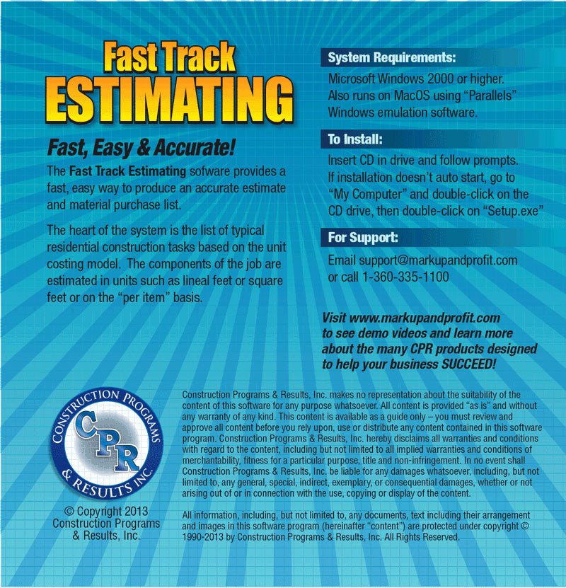 fast track estimating software construction programs results