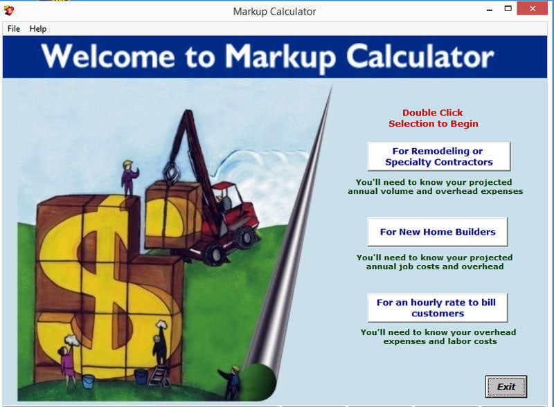 markup calculator software construction programs results inc