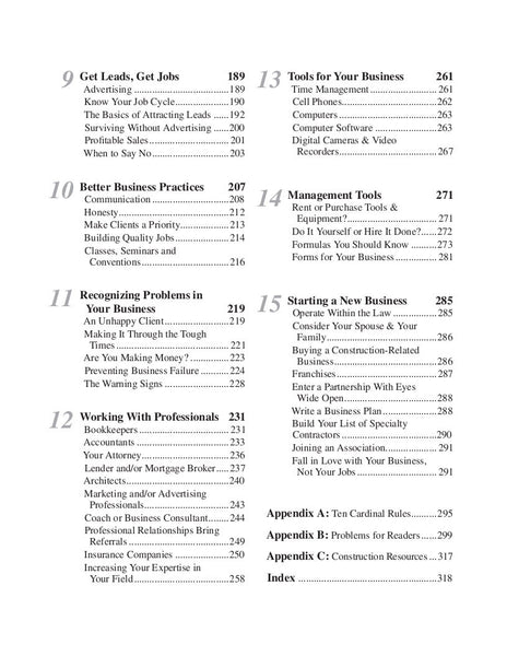 Markup & Profit, Table of Contents