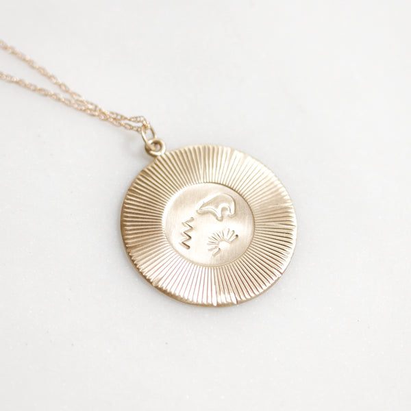 Gold Sun Bear Necklace