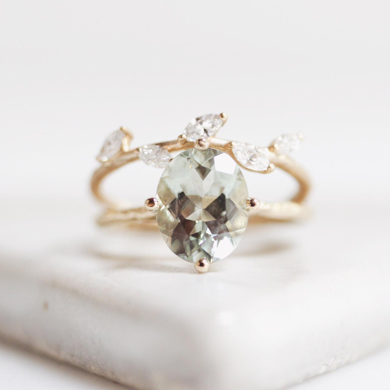 2.5 Carat North/South/East/West Solitaire with Green Amethyst