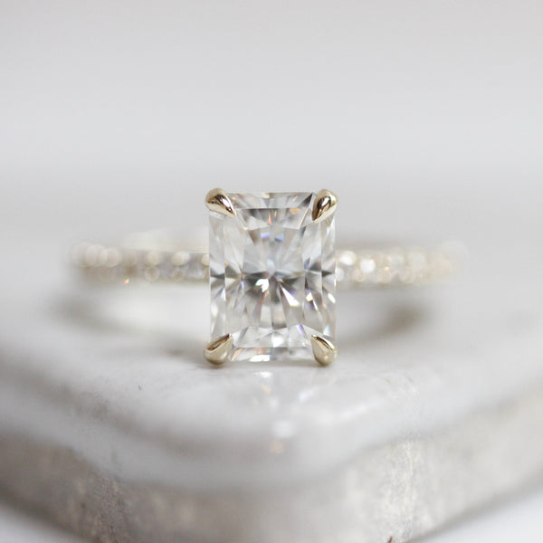 Radiant Cut Moissanite Pavé Solitaire