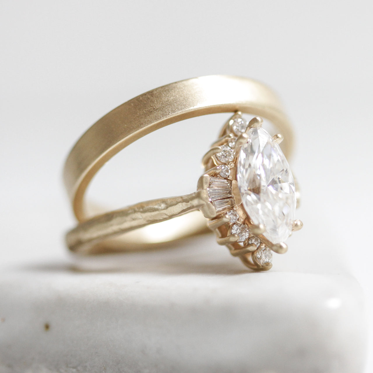 Marquise Art Deco Halo Ring