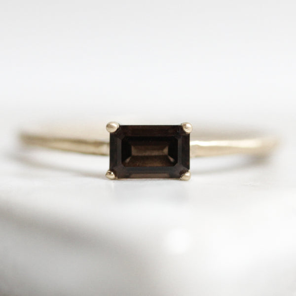 East To West Emerald Cut Solitaire