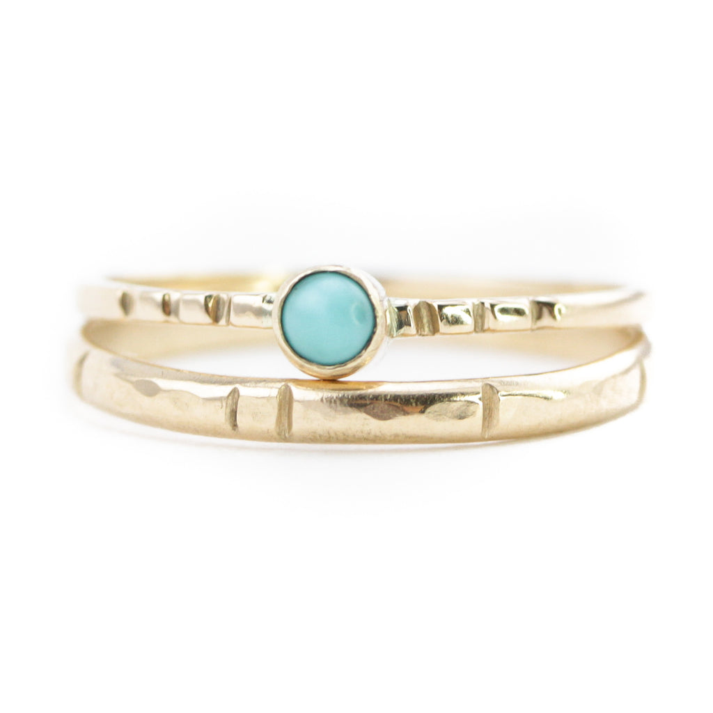 Turquoise Heron Island & Carved Gold Cheyenne Stack