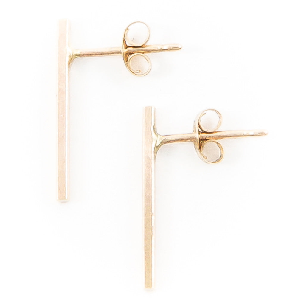 14 Karat Long Bar Earrings
