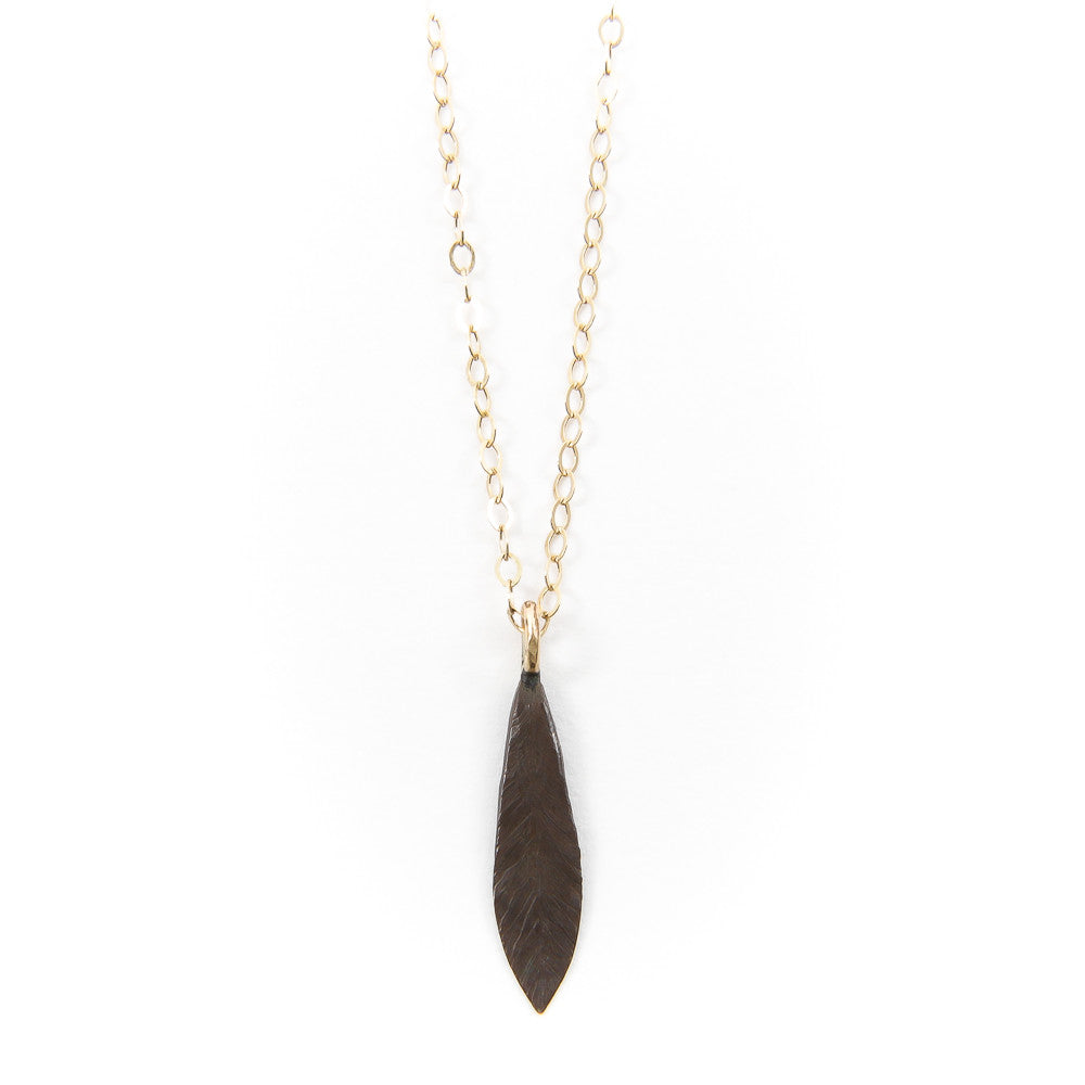 Black & Gold Carved Feather Necklace