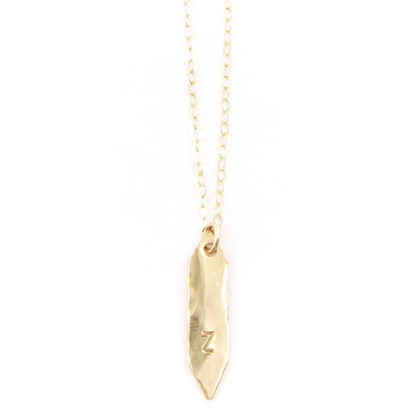 Gold Arrow Initial Necklace