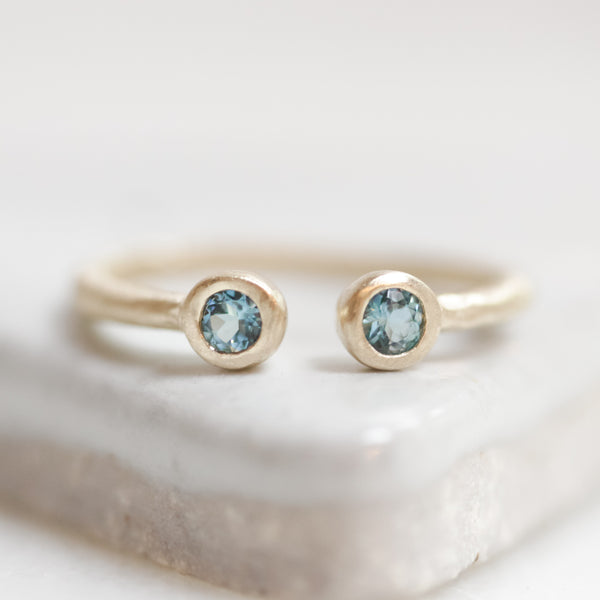 Aquamarine Crescent Ring
