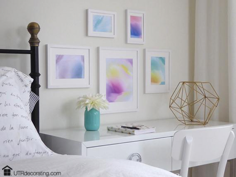 Pretty pastels create a relaxing atmosphere in the bedroom