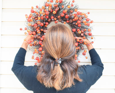 Fall Decorating Outdoors on Vinyl Siding