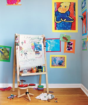 Frame kids' art with tape – An easy, cool idea