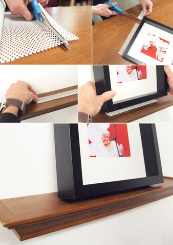 Prevent Picture Frames From Sliding off Floating Shelves