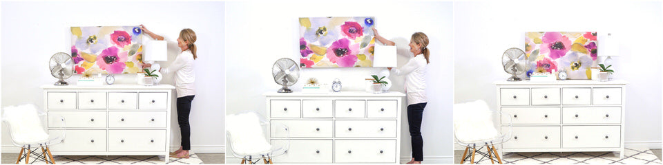 3 different height options for hanging a picture above a dresser