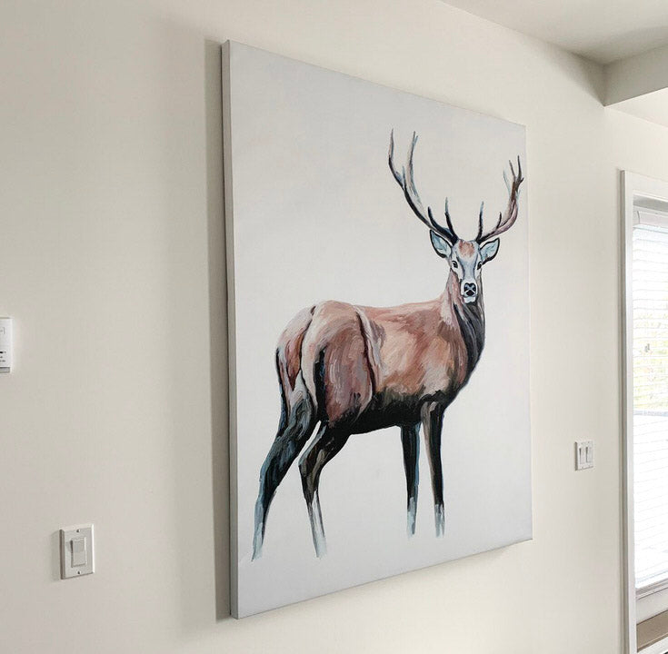 deer canvas hanging flush to the wall