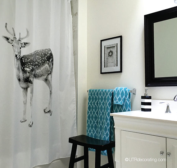 Shower curtain with deer - the inspiration for my nature inspired bathroom decor