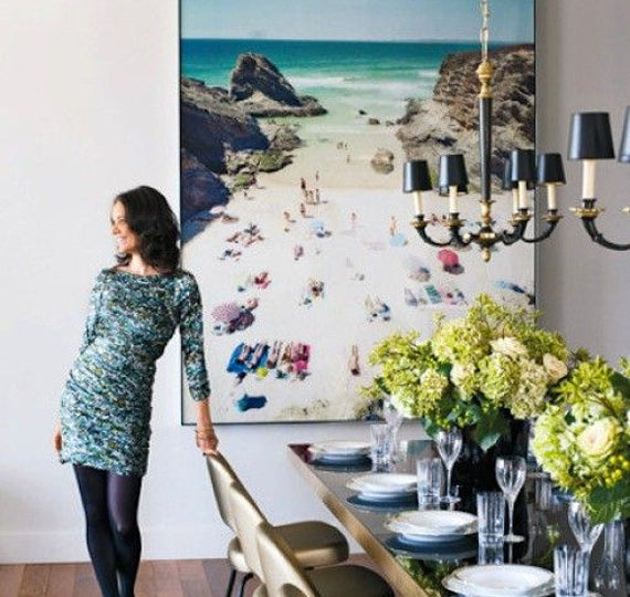 Use big scale art to create focal point in your dining room